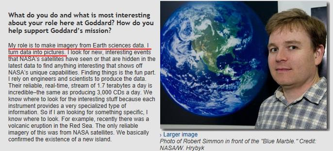 Interview de Robet Simon sur son travail de conception des images de la terre