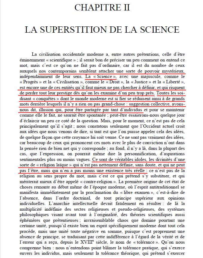 La supersition de la science, Orient et Occident chapitre 2, de René Guénon.